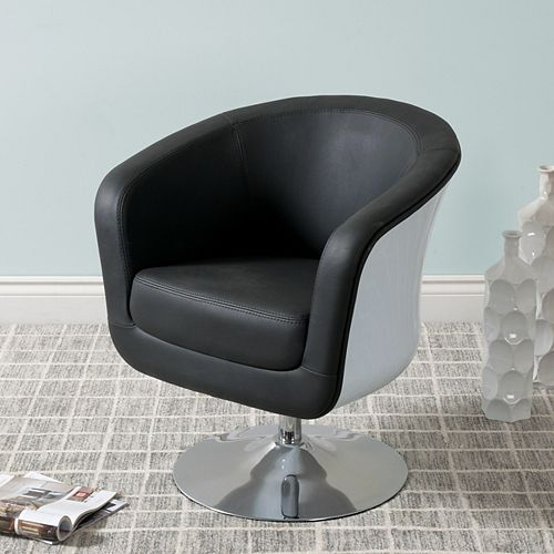 Mod Modern Bonded Leather Tub Chair, Black and White