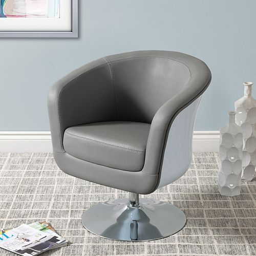 Mod Modern Bonded Leather Tub Chair, Grey and White
