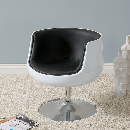 Mod Modern Bonded Leather Barrel Chair, Black and White