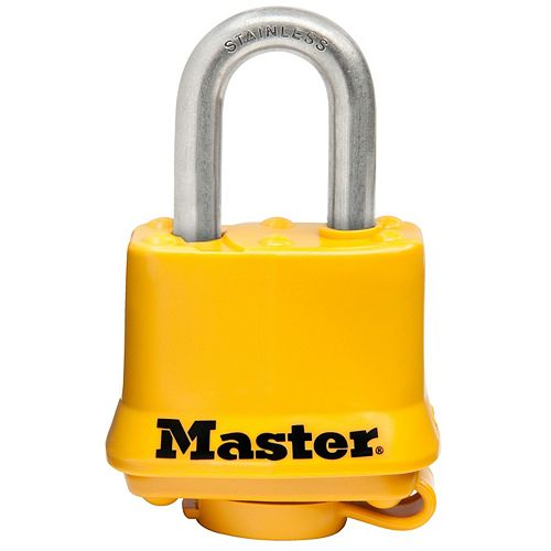 Master Lock 1-9/16 inch (40mm) Wide Covered Stainless Steel Pin Tumbler Padlock