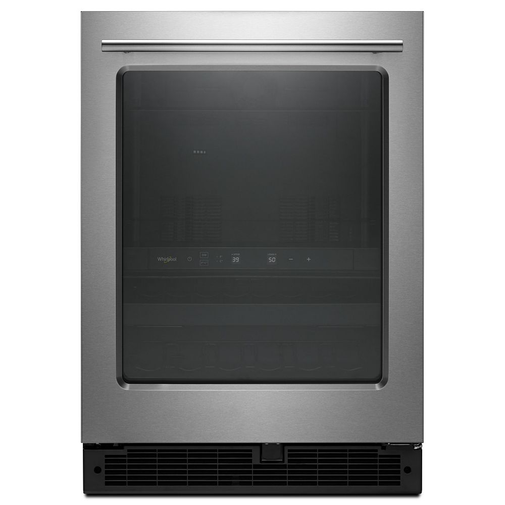 Whirlpool 24 Inch 5 2 Cu Ft Wine Beverage Cooler With Glass Door In Finger Print Resist The Home Depot Canada