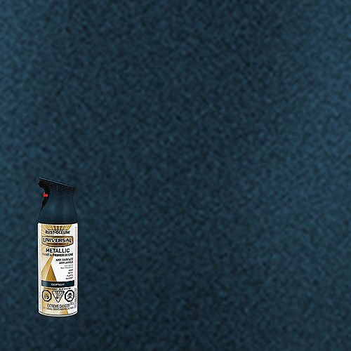 Rust-Oleum Universal Metallic Spray Paint And Primer in One in Deep Navy, 340 G Aerosol