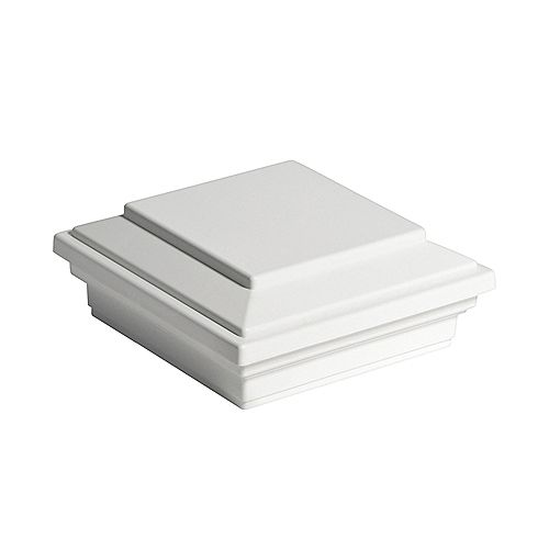 4 inch x 4 inch Post Sleeve Cap - Square Flat - White