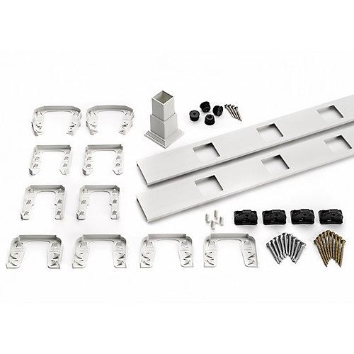 6 pi. - Ensemble d'accessoires de Rampe pour Balustres Carrés - Horizontal - Blanc