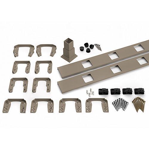 6 pi. - Ensemble d'accessoires de Rampe pour Balustres Carrés - Horizontal - Gravel Path