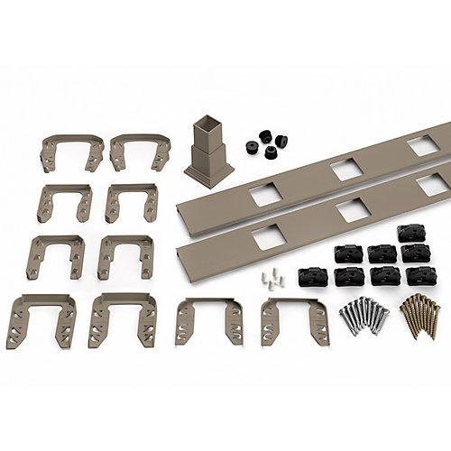 6 pi. - Ensemble d'accessoires de Rampe pour Balustres Carrés - Escalier - Gravel Path