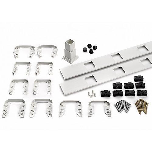 8 pi. - Ensemble d'accessoires de Rampe pour Balustres Carrés - Escalier - Blanc