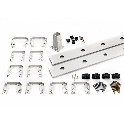 8 pi. - Ensemble d'accessoires de Rampe pour Balustres en Aluminium - Horizontal - Blanc