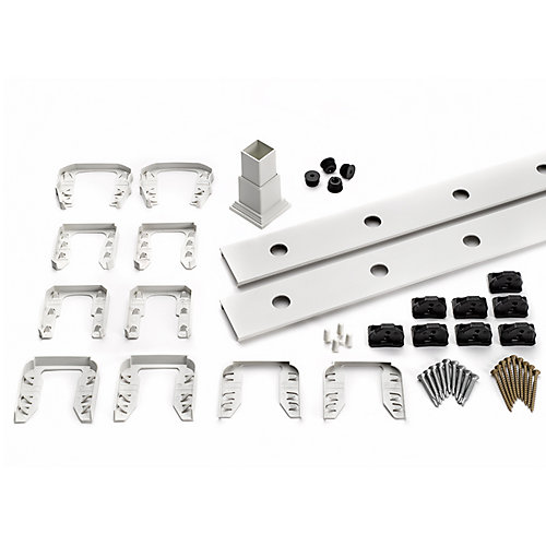 8 ft. - Infill Rail Kit for Round Aluminum Balusters - Stair - White