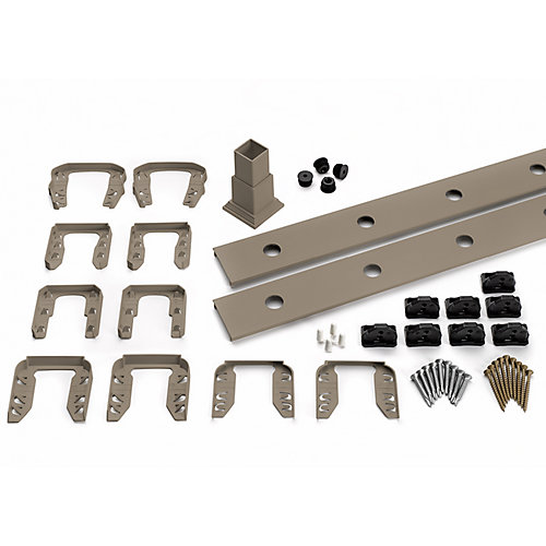 8 ft. - Infill Rail Kit for Round Aluminum Balusters - Stair - Gravel Path