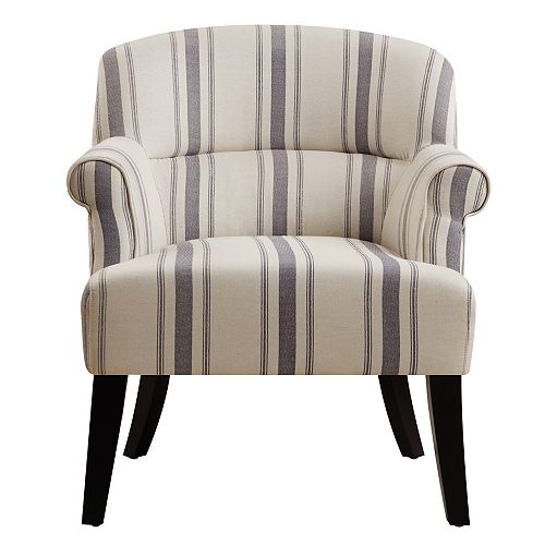 Upholstered Roll Arm Accent Chair in Cambridge Seaside