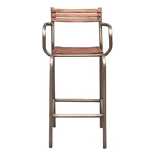 Rustic Barclay Wood and Metal Frame Barstool