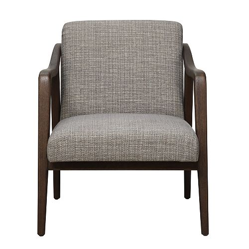 Mid Century Wood Frame Accent Chair in Kendrick Driftwood