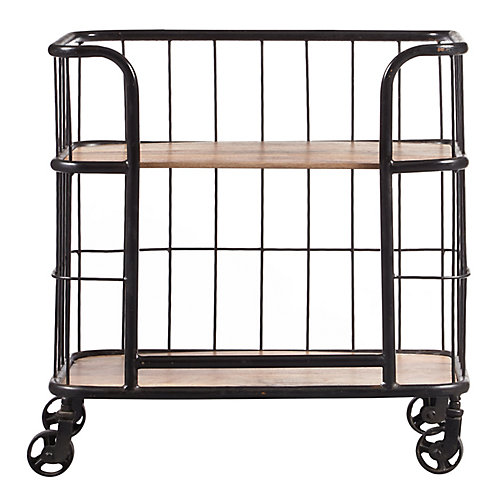Chariot-bar de style industriel en bois et métal