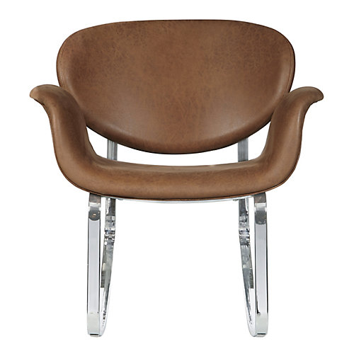 Berceuse en similicuir brun à base en métal