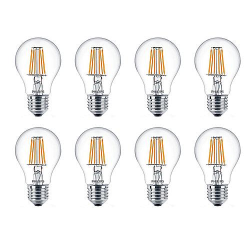 8.5W=60W Soft White Warm Glow A19 LED  Light Bulb (8-pack)