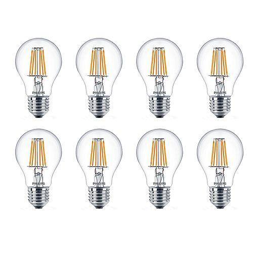 Philips DEL 60W A19 Blanc Doux WarmGlow Claire Verre - Cas de 8 Ampoules- ENERGY STAR®