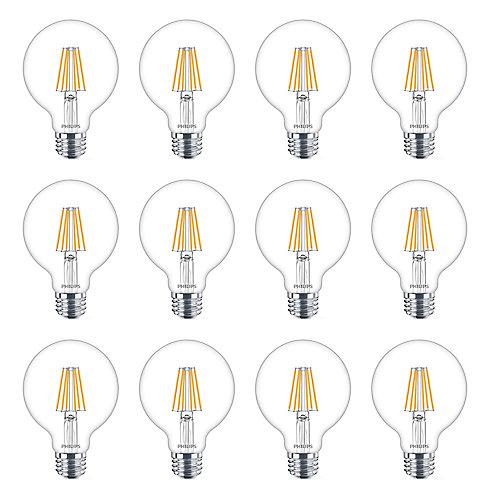 40W Equivalent Soft White WarmGlow Clear Glass G25 Globe LED Light Bulb (12-Pack)