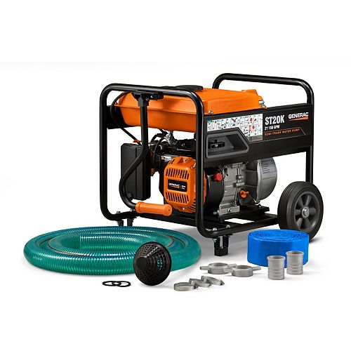 Generac 5HP 2 in. Gas Powered Semi-Trash Water Pump with Hose Kit
