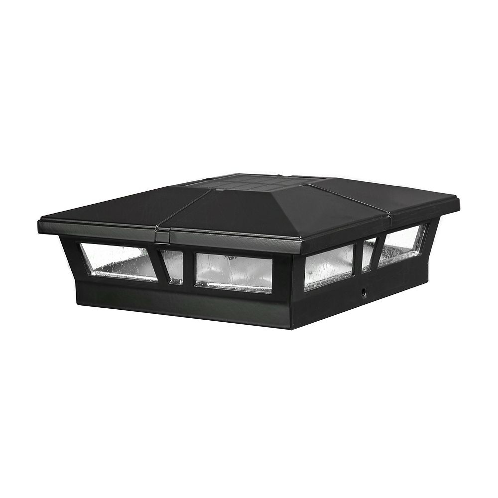 Classy Caps Cambridge 6 inch x 6 inch Outdoor Black LED Solar Post Cap