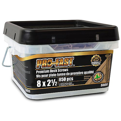 PRO #8 x 2 1/2-inch Deck Screws in Brown (850-Pack)
