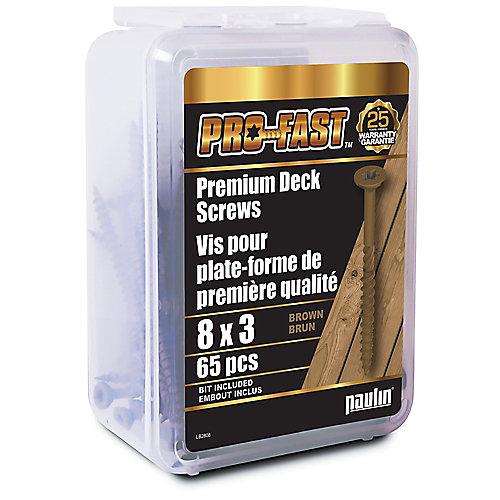 #8 x 3 pouces Star Drive PRO-FAST(TM) Vis de qualité supérieure pour tablier en brun - 65pcs