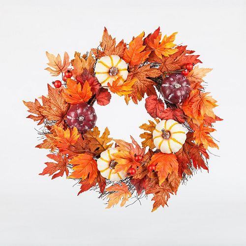 22-inch Maple Leaf and Pumpkin Harvest or Halloween Wreath