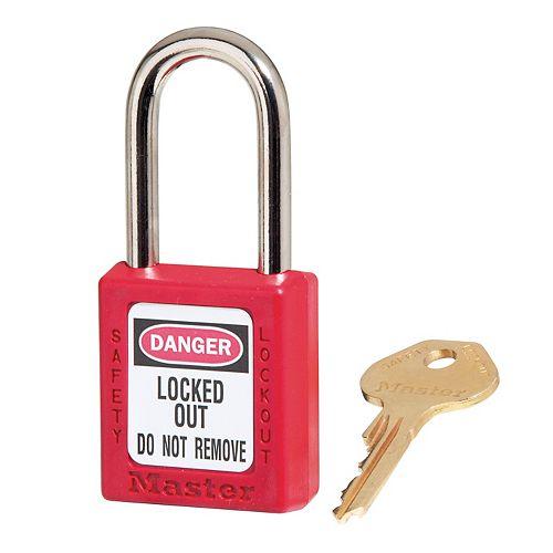 Cadenas de sécurité en thermoplastique Zenex rouge de 11/2po avec arceau de 11/2po de hauteur