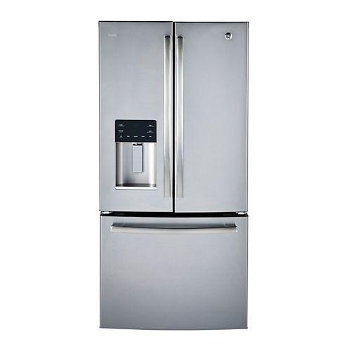 Réfrigérateur à porte française en acier inoxydable de 33 po de largeur et de 17,5 pi³ de profondeur au comptoir