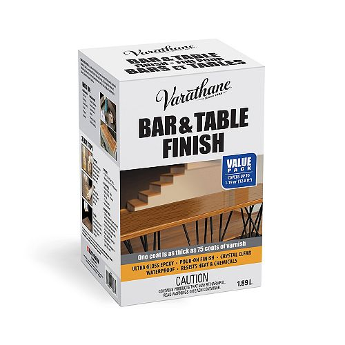 Barre et finition de table en époxy ultra épais à verser dans un vernis ultra brillant transparent, 1,89 L