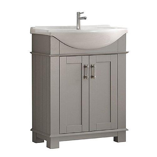 Fresca Hudson 30 po Meuble-lavabo en gris avec dessus blanc en céramique