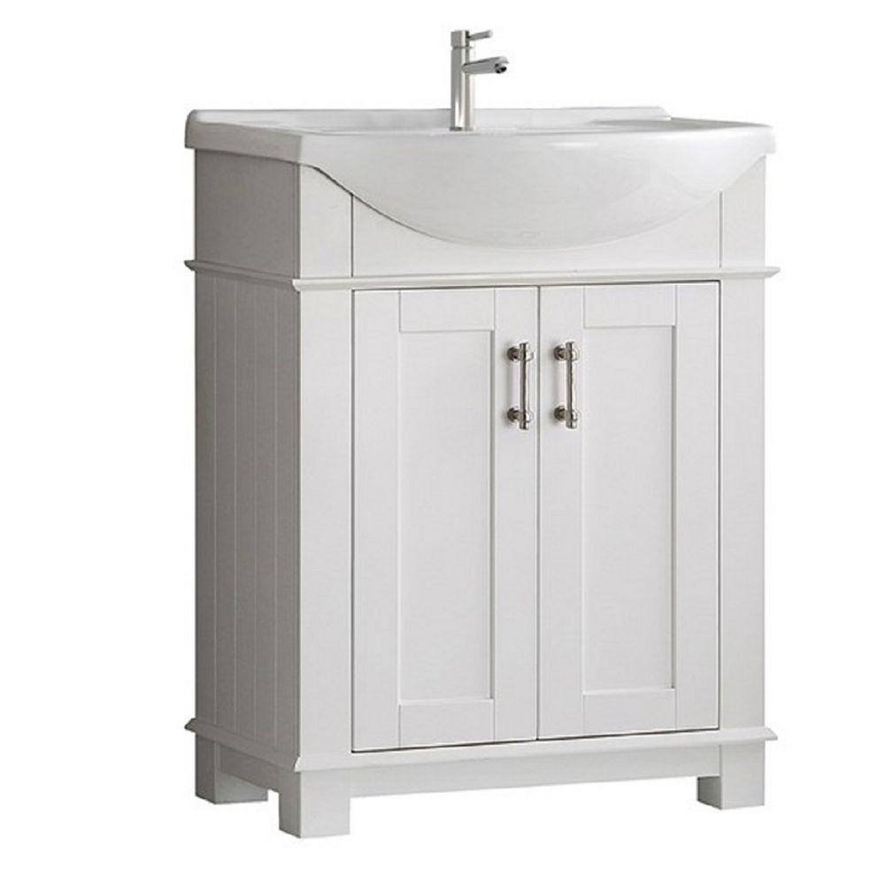 Fresca Hudson 30 in. Bathroom Vanity in White with Ceramic Vanity Top in White
