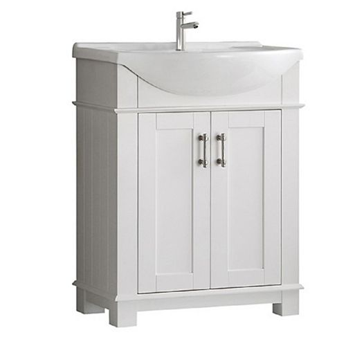 Fresca Hudson 30 in. Bathroom Vanity in White with Ceramic Vanity Top in White