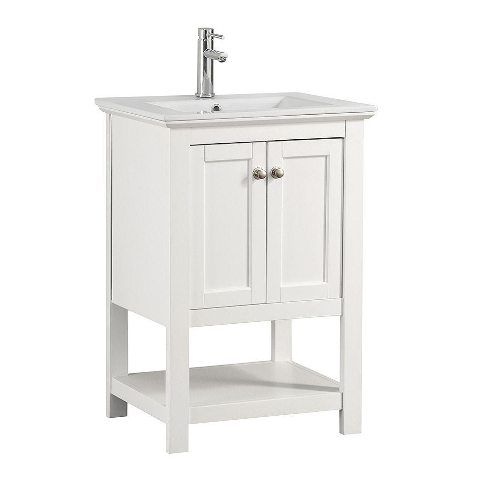 Fresca Bradford 24 in. Bathroom Vanity in White with Ceramic Vanity Top in White