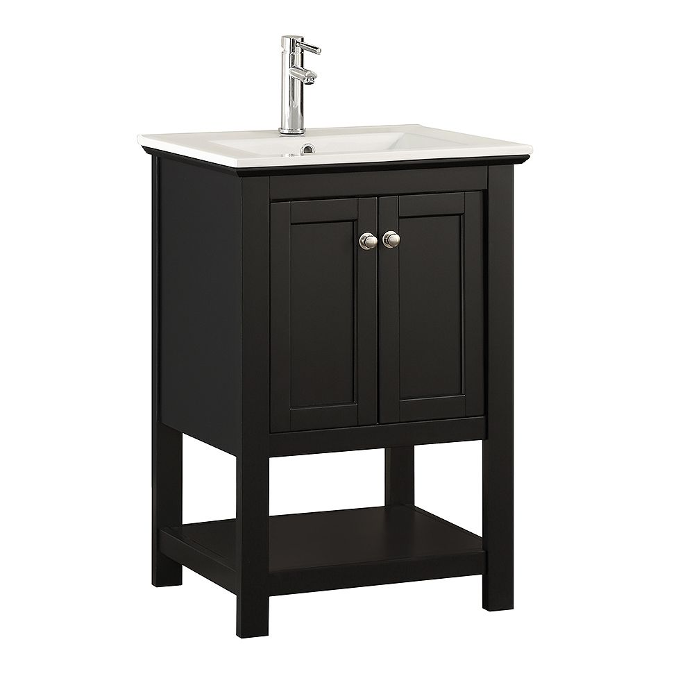 Fresca Bradford 24 in. Bathroom Vanity in Black with Ceramic Vanity Top in White