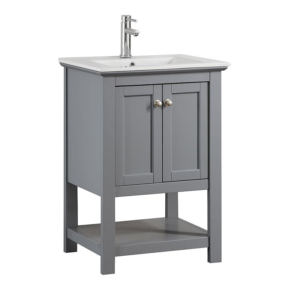 Fresca Bradford 24 in. Bathroom Vanity in Gray with Ceramic Vanity Top in White