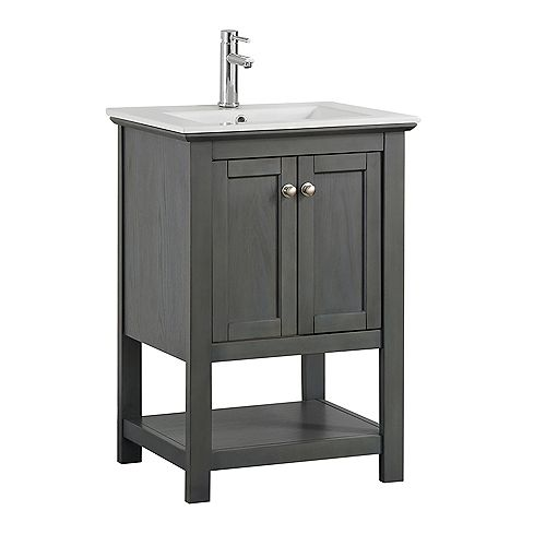 Fresca Bradford Regal 24 in. w Bathroom Vanity in Gray with Ceramic Vanity Top in White
