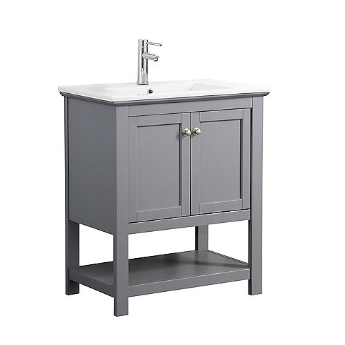 Fresca Bradford 30 in. Bathroom Vanity in Gray with Ceramic Vanity Top in White