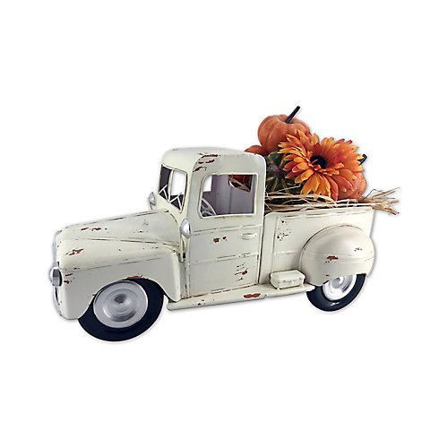 Vintage Pickup Truck in White with Pumpkins