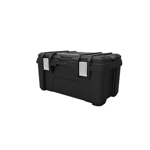 22-inch Plastic Tool Box with Metal Latches in Black