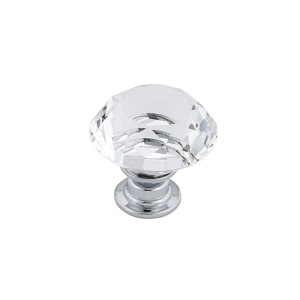 Richelieu (Pack of 6) 1 3/16 in (30 mm) Clear, Chrome Contemporary Cabinet Knob