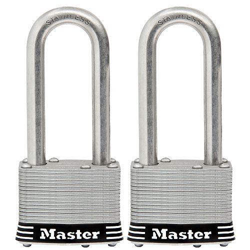 Master Lock Cadenas en acier inoxydable laminé de 51mm, paquet de 2