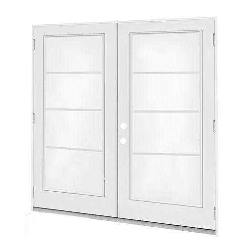 JELD-WEN Windows & Doors 5 pi. Porte jumelle, 4 carr Low-E argon, penturée à droite, ouv. ext., jambage 4 9/16 po / WC - ENERGY STAR®