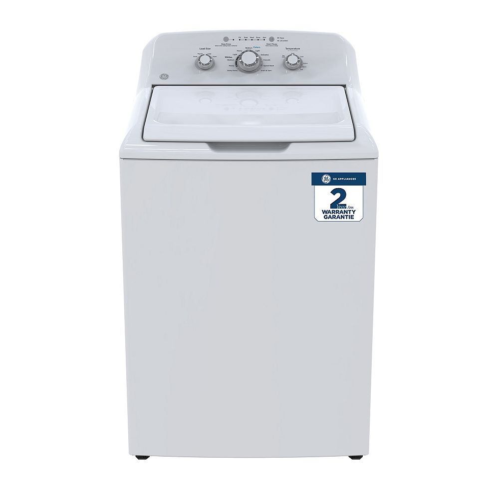 GE 4.4 cu. ft. Top Load Washer Stainless Steel Basket in White