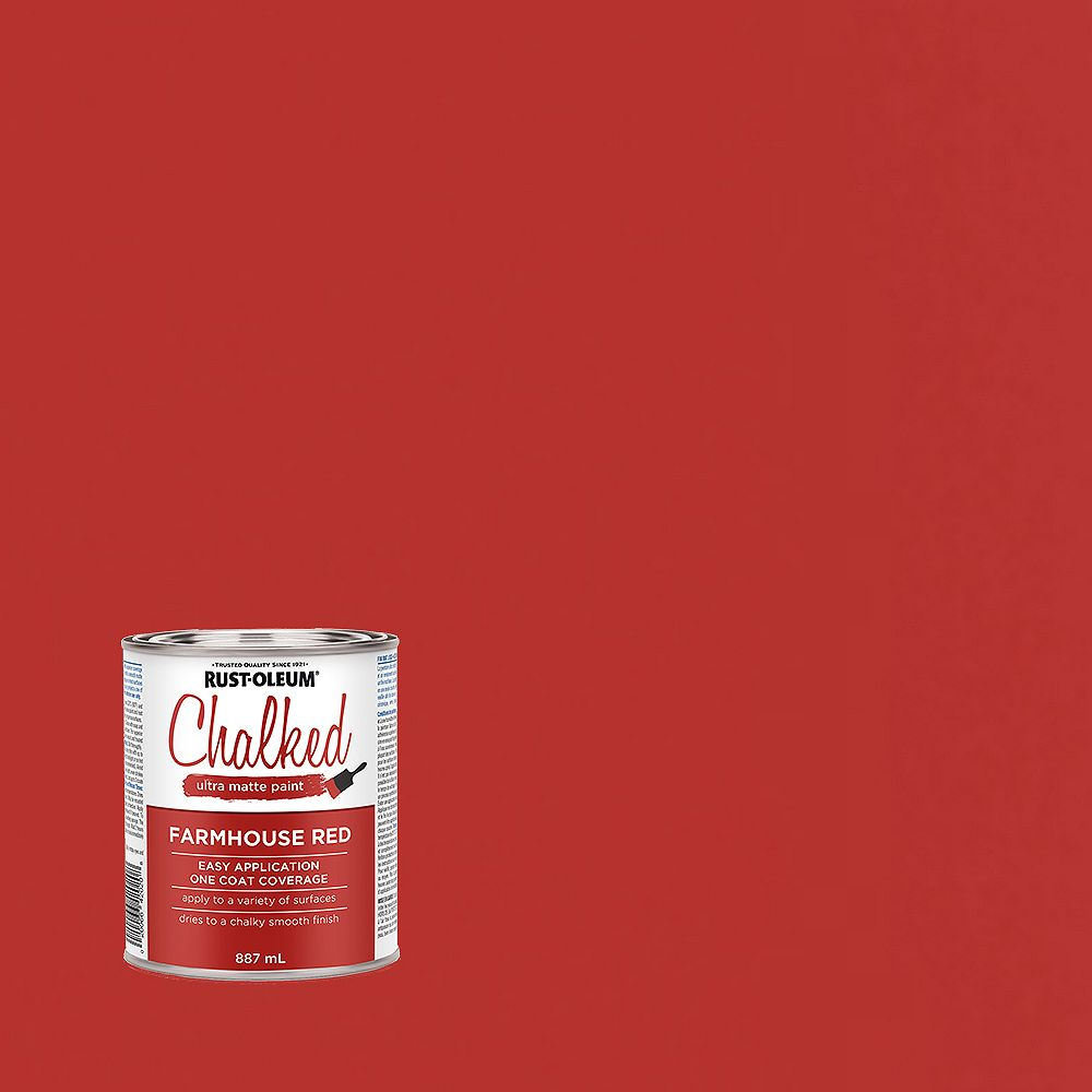 Rust-Oleum Chalked Ultra Matte Paint in Farmhouse Red, 887 mL