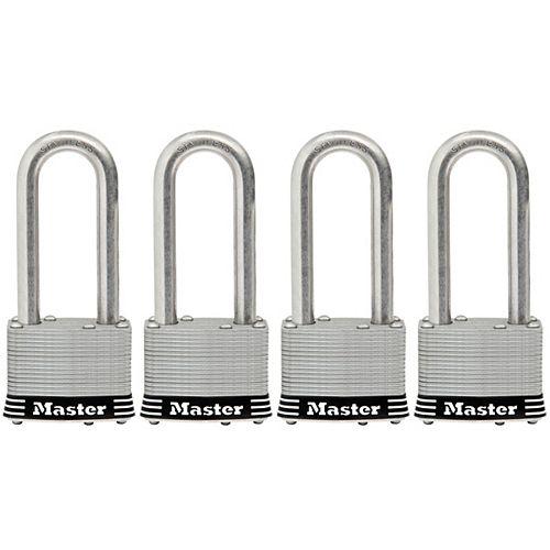 Master Lock Cadenas en acier inoxydable laminé de 51mm, paquet de 4