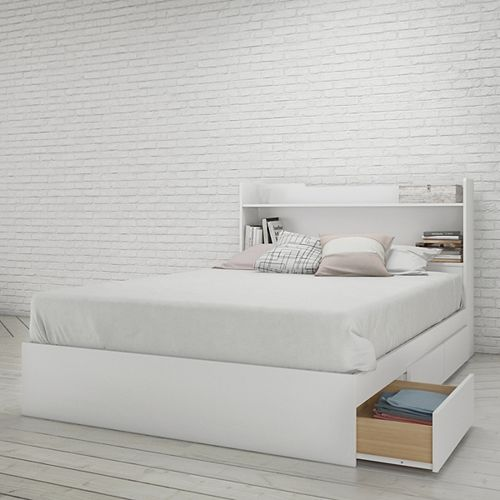 Aura Full Size Headboard and Storage Bed, White