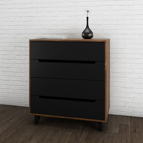Nocce 4-Drawer Chest, Truffle & Black