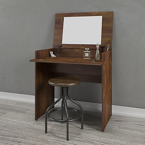 Nocce Vanity/Desk in Truffle with Enclosed Storage and Mirror