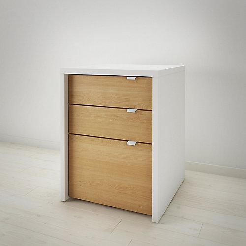 Cabinet filière 3 tiroirs Chrono, blanc et érable naturel